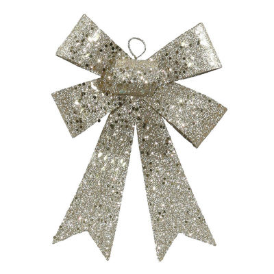 "7"" Champagne Sequin and Glitter Bow Christmas Ornament"""