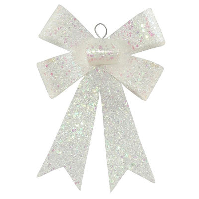 """7"""" Clear Iridescent Sequin and Glitter Bow Christmas Ornament"""""""