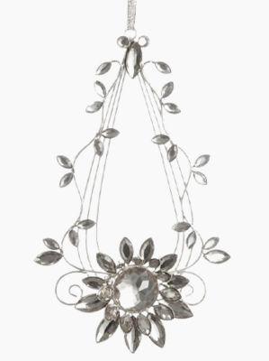 "7"" Elegant Silver Flower Jeweled Teardrop Christmas Ornament"""