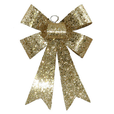 """7"""" Gold Sequin and Glitter Bow Christmas Ornament"""""""