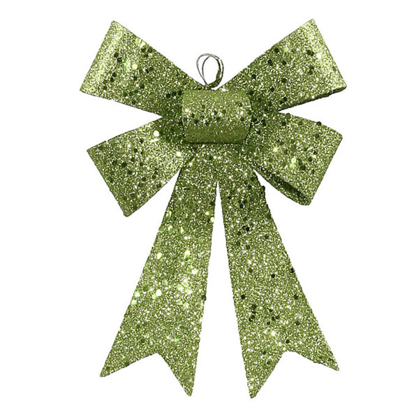 "7"" Lime Green Sequin and Glitter Bow Christmas Ornament"""
