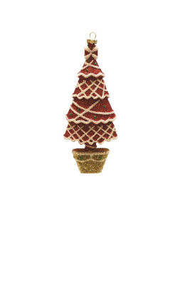 """7"""" Merry & Bright Red  White and Gold Glitter Shatterproof Christmas Tree Ornament"""""""