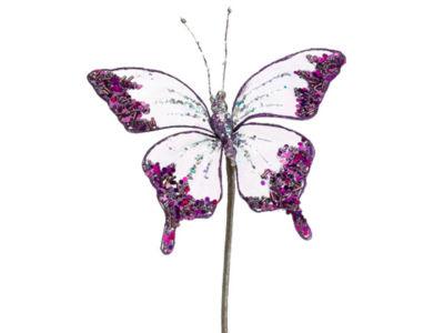 "7"" Princess Garden Glittering Violet Butterfly Beaded Floral Craft Pick"""