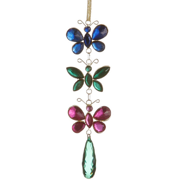"7"" Regal Peacock Blue  Green  and Pink Jewel Butterfly Christmas Ornament"""