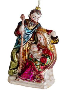 "7"" Religious Holy Family Mary  Joseph & Jesus Glass Nativity Christmas Ornament"""