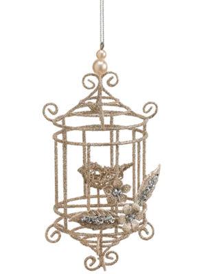 "7"" Seasons of Elegance Gold Glitter Wire Bird Cagewith Bird Christmas Ornament"""
