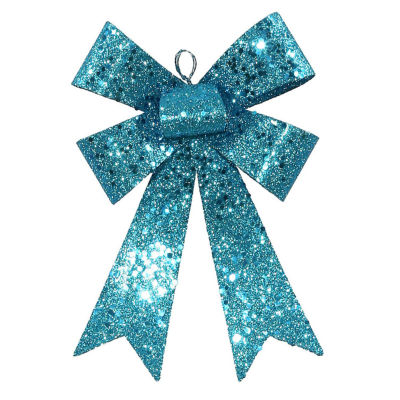"""7"""" Turquoise Blue Sequin and Glitter Bow ChristmasOrnament"""""""