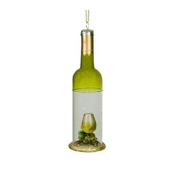 "7"" Tuscan Winery Green Transparent Wine Bottle Glass Christmas Ornament"""