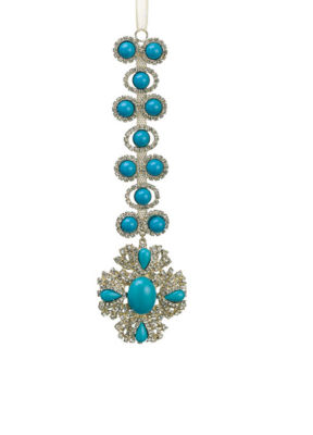 "7.5"" Exquisite Turquoise and Gold Rhinestone Drenched Drop Christmas Ornament"""