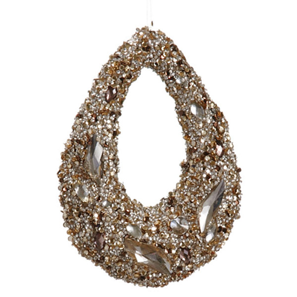 "7.5"" Golden Encrusted Sequins and Jewels Hoop Christmas Ornament"""