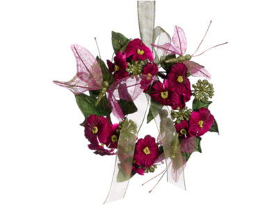 """7.5"""" Princess Garden Red-Violet Butterfly & Posy Flower Christmas Ornament"""""""