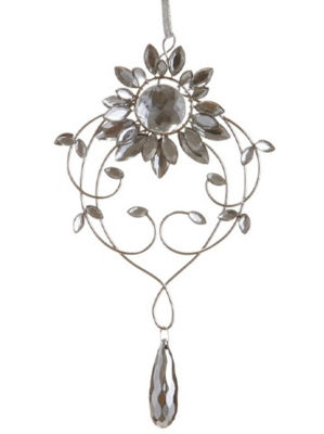 "7.75"" Elegant Silver Flower Jeweled Drop ChristmasOrnament"""