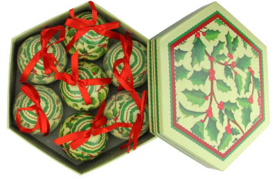 """7-Piece Red and Green Holly Berry Decoupage Shatterproof Christmas Ball Ornament Set 2.75"""""""
