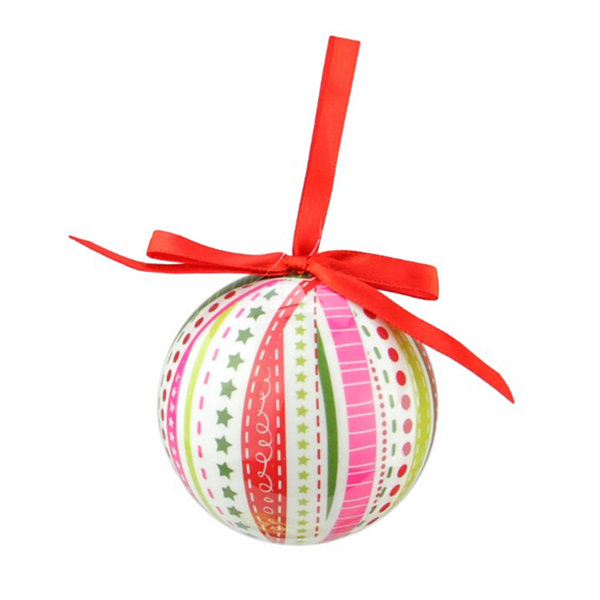 7-Piece Whimsical Red  White and Green Decoupage Shatterproof Christmas Ball Ornament Set 2.75""