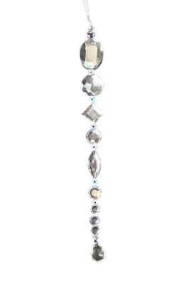 "8"" Beaded Jewel Clear Silver Icicle Drop ChristmasOrnament"""