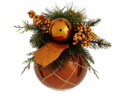 """8"""" Brown and Orange Pine Cone and Berry GlitteredChristmas Ball Ornament Decor"""""""