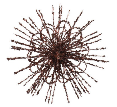 """8"""" Chocolate Brown Glitter Flower Blossom SequinedChristmas Ornament"""""""