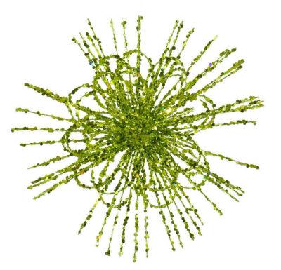 """8"""" Kiwi Green Glitter Flower Blossom Sequined Christmas Ornament"""""""