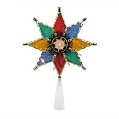 """8"""" Lighted Multi-Color 8-Point Star Christmas TreeTopper Decoration - Clear Lights"""""""