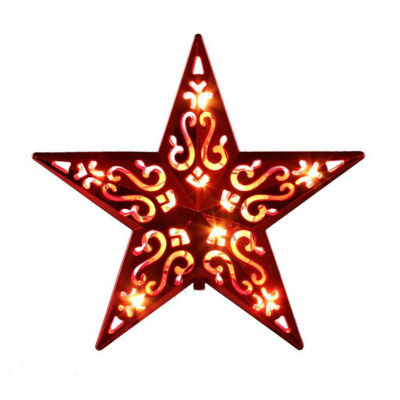 """8"""" Lighted Red Cut-Out Design Decorative Star Christmas Tree Topper - Clear Lights"""""""