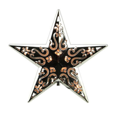 """8"""" Lighted Silver Cut-Out Design Decorative Star Christmas Tree Topper - Clear Lights"""""""