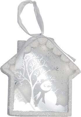 "8"" Pre-Lit LED White Sparkle Snowman Scene Christmas House Ornament"""