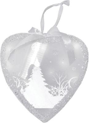 "8"" Pre-Lit LED White Sparkle Wintery Woods Scene Christmas Heart Ornament"""