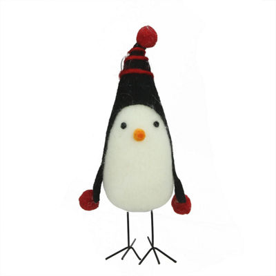 "8"" Red and Black Felt Bird with Winter Hat Decorative Christmas Ornament"""