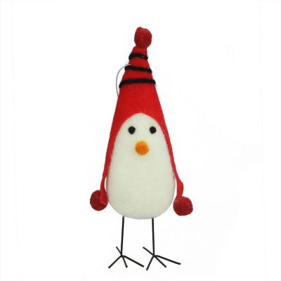 "8"" Red and White Felt Bird with Winter Hat Decorative Christmas Ornament"""