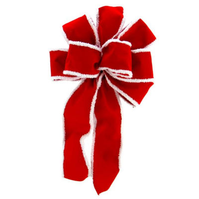 """8"""" x 16"""" Velveteen Red 6 Loop Bow with Fluffy White Edges Christmas Decoration"""""""