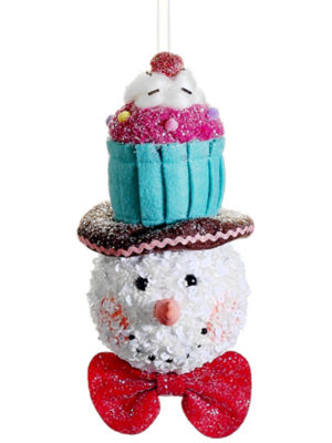 "8.5"" Cupcake Heaven Glitter Sequined Snowman with Cupcake Hat Christmas Ornament"""
