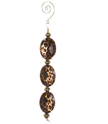 "8.5"" Diva Safari Gold Cheetah Print Faux Crystal Christmas Dangle Ornament"""