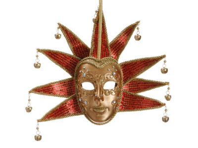 "8.5"" Gold and Red Glittered Ornate Minstrel Masquerade Mask Christmas Ornament"""