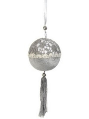 "8.5"" Gray Cream Laced Ball Ornament with Tassels"""