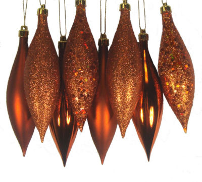 8ct Burnt Orange Shatterproof 4-Finish Finial DropChristmas Ornaments 5.5""
