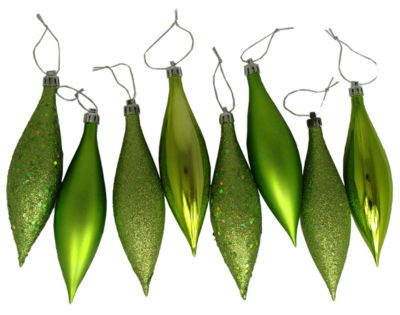8ct Green Kiwi Shatterproof 4-Finish Finial Drop Christmas Ornaments 5.5""