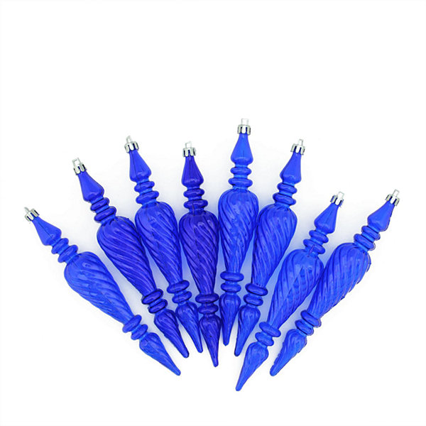 "8ct Lavish Blue Transparent Spiral Finial Shatterproof Christmas Ornaments 7"" (180mm)"""