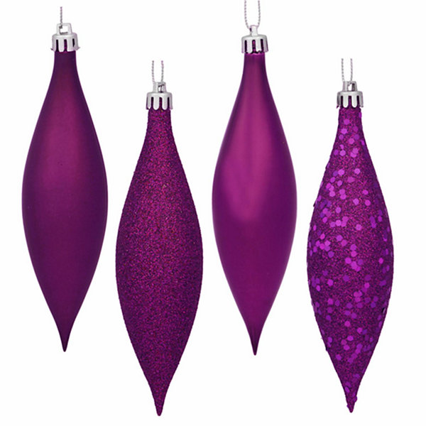 8ct Magenta Shatterproof 4-Finish Finial Drop Christmas Ornaments 5.5""