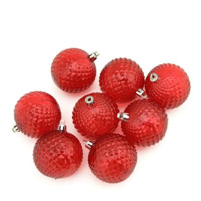"8ct Red Hot Transparent Diamond Cut Shatterproof Christmas Ball Ornaments 2.5"""