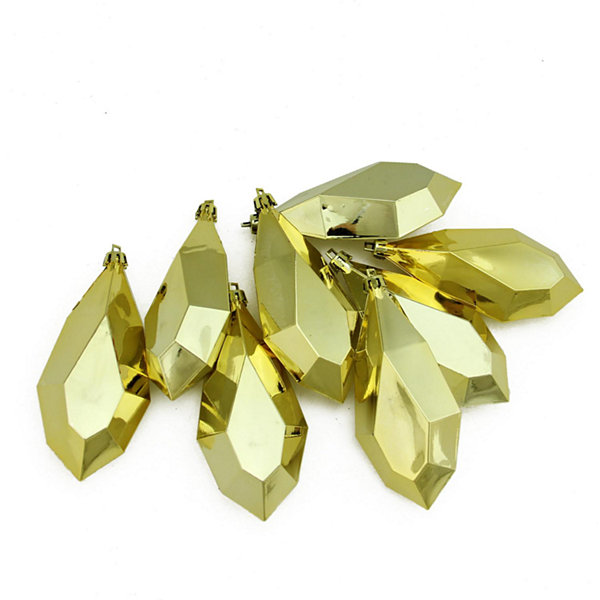 "8ct Shiny Gold Glamour Diamond Cut Shatterproof Christmas Drop Ornaments 4.75"" (120mm)"""