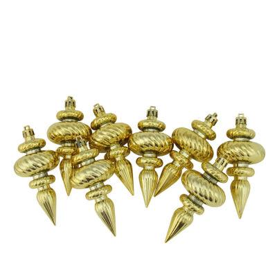 "8ct Shiny Gold Swirl Shatterproof Christmas FinialOrnaments 4.25"""