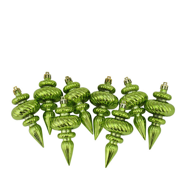 8ct Shiny Kiwi Green Swirl Shatterproof ChristmasFinial Ornaments 4.25""