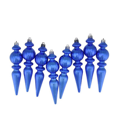 8ct Shiny Lavish Blue Ribbed Shatterproof Christmas Finial Ornaments 6.5""