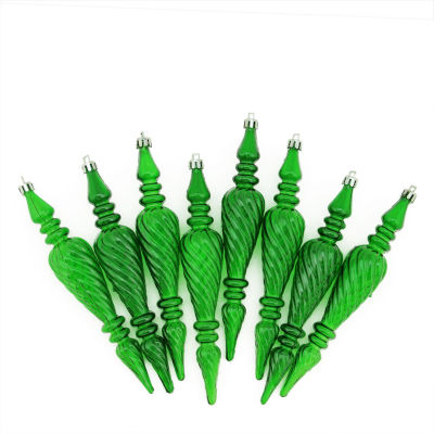 """8ct Christmas Green Transparent Spiral Shatterproof Christmas Finial Ornaments 7"""" (180mm)"""""""