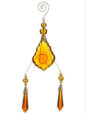 """9"""" Amber Gold Faceted Beaded Pendant Scrolling Christmas Ornament"""""""