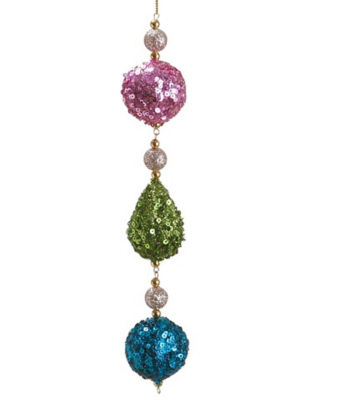 "9"" Christmas Whimsy Pink  Green and Blue Sequin Ball and Drop Dangle Ornament"""
