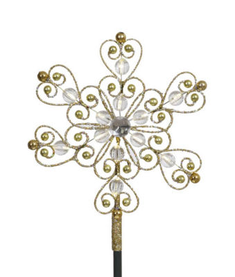 """9"""" LED Lighted Gold Glitter Snowflake Christmas Tree Topper - Warm Clear Lights"""