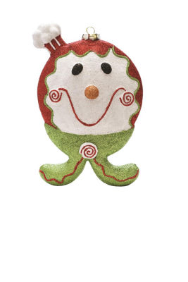 """9"""" Merry & Bright Red  White and Green Glittered Shatterproof Gingerbread Boy Christmas Ornament"""""""