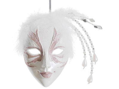 "9"" Pink and White Glittered Ornate Masquerade MaskChristmas Ornament"""