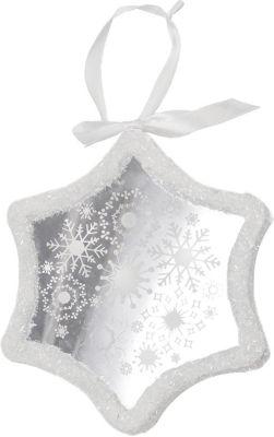 "9"" Pre-Lit LED White Sparkle Snowflake Scene Christmas Snowflake Ornament"""